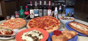 Piza Pasta Strombolis Calzones, Wine Beer Soda and salads